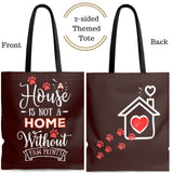 Carryall Tote Bag - House not a Home Without Paw Prints - 2-sided theme  - in Sizes S,M,L - Chocolate Brown - Personalize it Free - Daisey's Doggie Chic