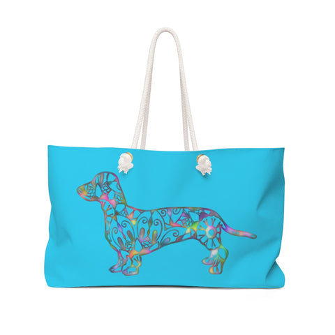 A Dachshund Weekender Bag - Color Bright Blue - Oversized Tote – Free Personalization - Daisey's Doggie Chic