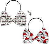 Santa Hats & Trains- Holiday Themed Bowtie 2-Pack set with Charm Accessory for Dogs or Cats - Daisey's Doggie Chic