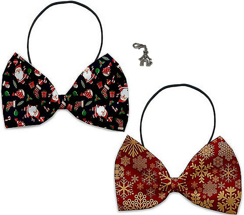 Santa's Party - Holiday Themed Bowtie 2-Pack set with Charm Accessory for Dogs or Cats