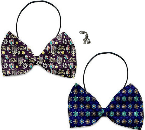 Happy Hanukkah - Holiday Themed Bowtie 2-Pack set with Charm Accessory for Dogs or Cats - Daisey's Doggie Chic