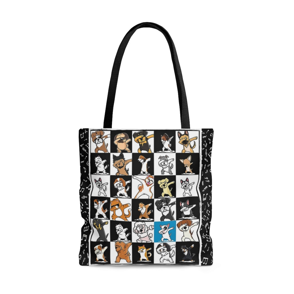 Exclusive Dog Art Jazzy Notes Dabbing Dogs Dance to Own Beat - Tall Tote Bag - 3 Sizes - personalize - Daisey's Doggie Chic