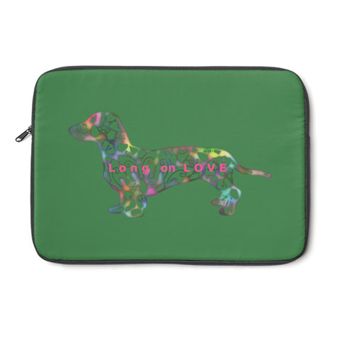 Laptop Sleeve Case - Dachshund Long on LOVE - Color Zucchini Green - Personalize Free - Daisey's Doggie Chic