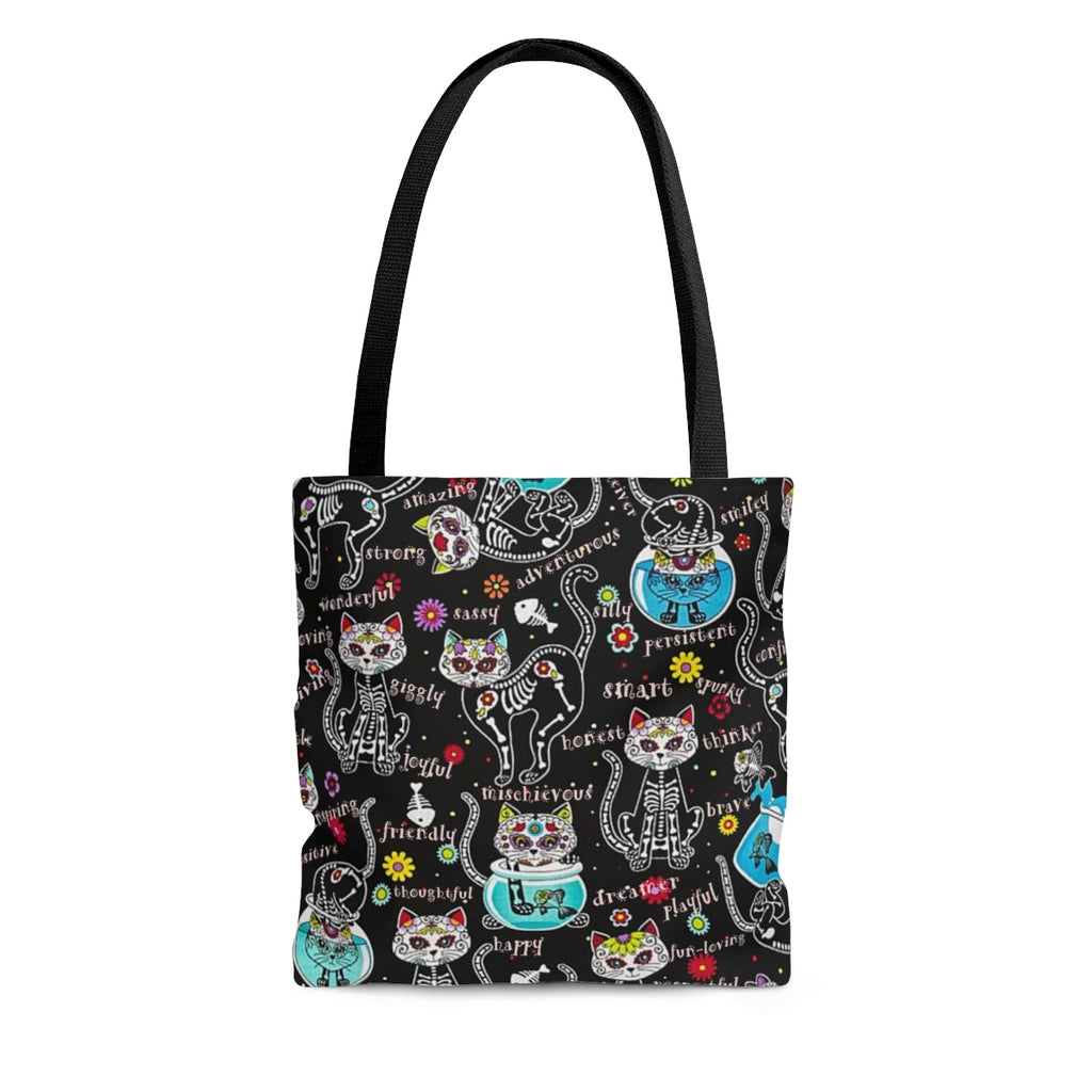 Exclusive Cat Art Spooky Skeletal Inspirational Cats - Sugar Skull - Tall Tote Bag - 3 Sizes S,M,L - Personalization Free - Daisey's Doggie Chic
