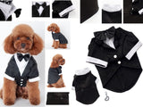 Wedding Formal Black Tails Tuxedo Jacket With Attached Shirt Bow Tie and Themed Accessory - Dog Sizes XS to 2XL - Daisey's Doggie Chic