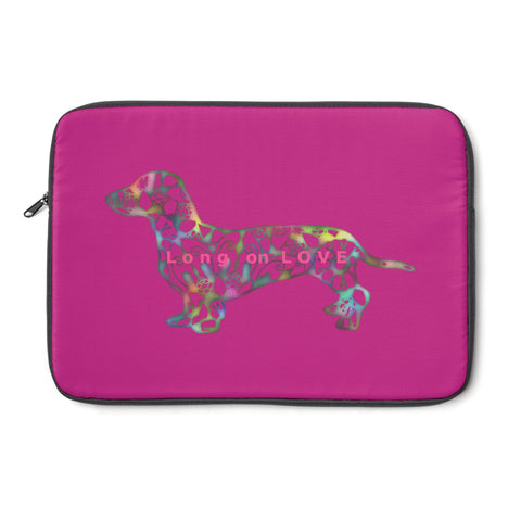Laptop Sleeve Case - Dachshund Long on LOVE - Color Dark Fushia - Personalize Free - Daisey's Doggie Chic