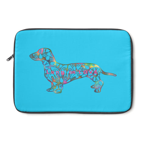 Laptop Sleeve Case - Dachshund Long on LOVE - Color Bright Blue - Personalize Free - Daisey's Doggie Chic