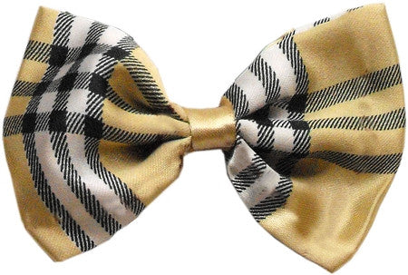 Super Fun & Festive Bow Tie for Small Dogs in Cream Plaid - Daisey's Doggie Chic