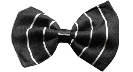 Super Fun & Festive Bow Tie for Small Dogs in Classic B/W Pinstripe - Daisey's Doggie Chic