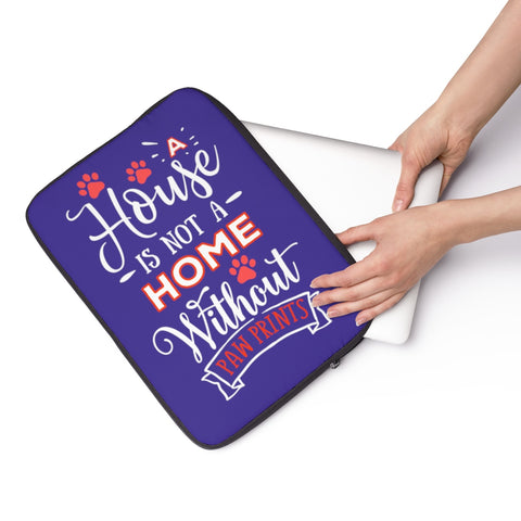 Laptop Sleeve Case - A House Isn't a Home Without Paw Prints Theme - Color Royal Blue - in 3 Sizes - Personalize Free - Daisey's Doggie Chic
