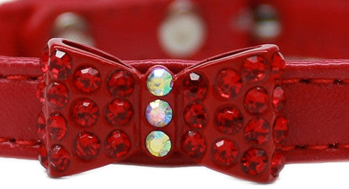 Bow-Dacious Crystal Bow Tie Collar in Color Red - Daisey's Doggie Chic - 2