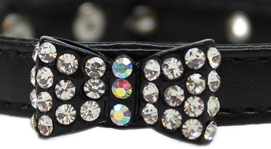 Bow-Dacious Crystal Bow Tie Collar in Color Black - Daisey's Doggie Chic - 2
