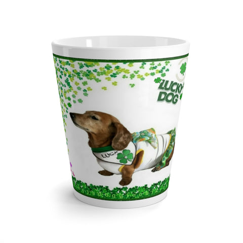 Exclusive Lucky Dog 4-Leaf Clover Themed Latte Mug - 12oz - Daisey's Doggie Chic