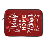 Laptop Sleeve Case - A House Isn't a Home Without Paw Prints Theme - Color Brick Red - in 3 Sizes - Personalize Free - Daisey's Doggie Chic