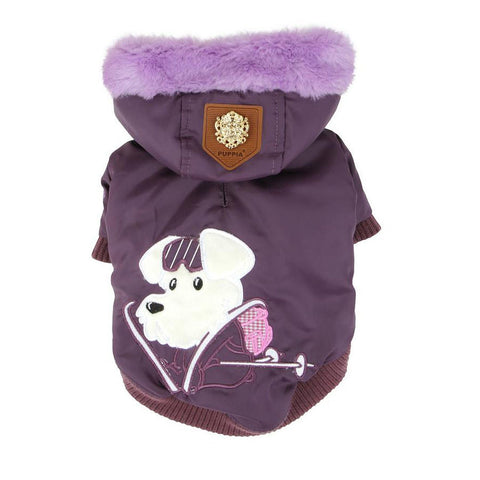 "Alpine Ski-Mutt Patrol by ""Puppia"" Fur Hooded Winter Coat in Color Purple - Daisey's Doggie Chic - 1"