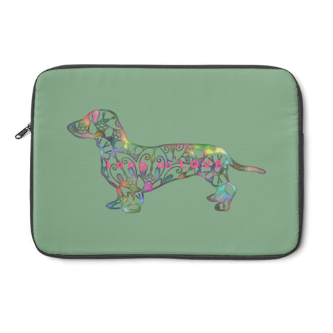 Laptop Sleeve Case - Dachshund Long on LOVE - Color Sage - Personalize Free - Daisey's Doggie Chic