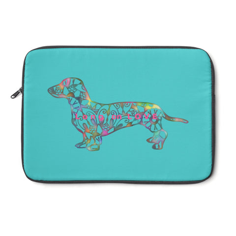 Laptop Sleeve Case - Dachshund Long on LOVE - Color Tahiti Blue - Personalize Free - Daisey's Doggie Chic