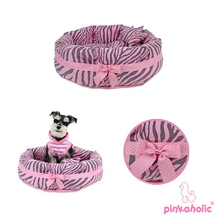 "Pinkaholic Pink Zebra ""Leo"" Luxury Dog Bed with Reversible Cushion and Bone Toy - Daisey's Doggie Chic - 1"