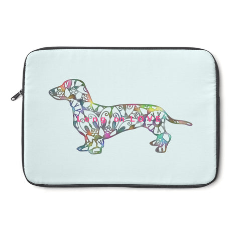 Laptop Sleeve Case - Dachshund Long on LOVE - Color Spa Blue - Personalize Free - Daisey's Doggie Chic