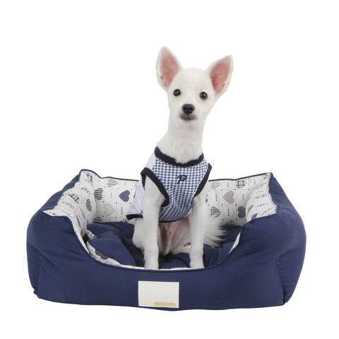 "Puppia ""Studio Hearts"" Luxury Dog Bed in Color Navy/Hearts - Daisey's Doggie Chic"