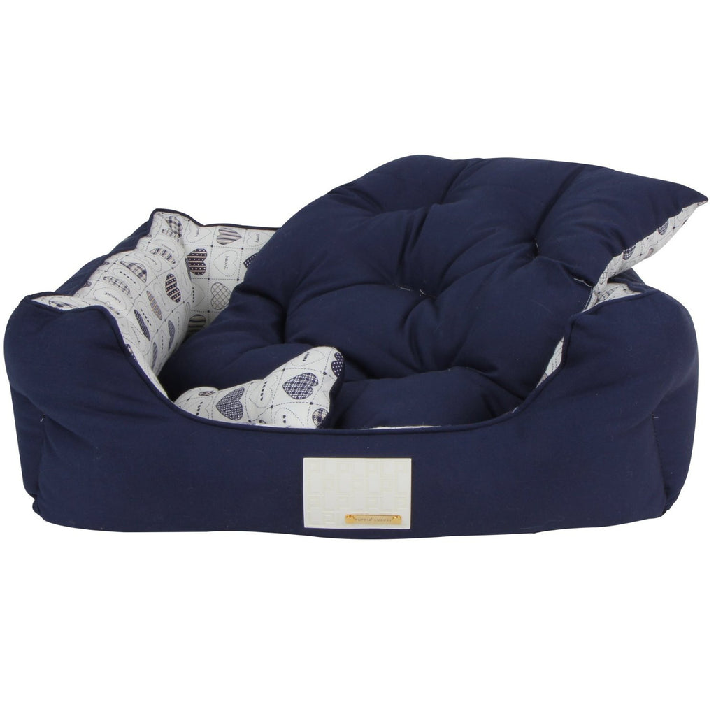 "Puppia ""Studio Hearts"" Luxury Dog Bed in Color Navy/Hearts - Daisey's Doggie Chic - 2"