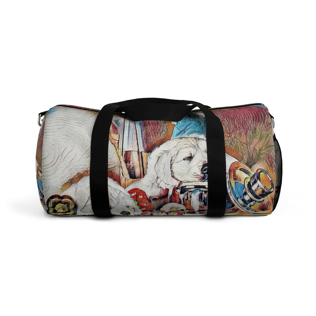 Exclusive Pet Art Duffel Bag - Candy Chef Dogs in the Kitchen - Season Everything with Love - Sizes S or L - personalize - Daisey's Doggie Chic