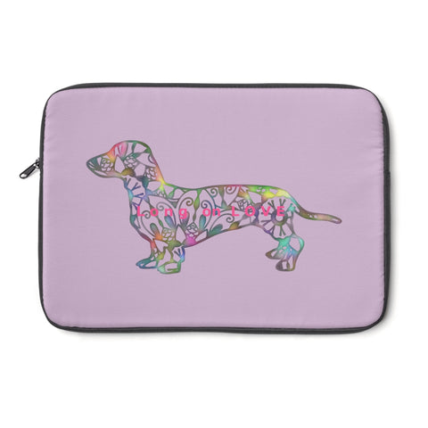 Laptop Sleeve Case - Dachshund Long on LOVE - Color Lavender - Personalize Free - Daisey's Doggie Chic
