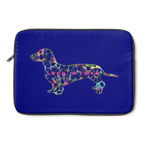 Laptop Sleeve Case - Dachshund Long on LOVE - Color Royal Blue - Personalize Free - Daisey's Doggie Chic
