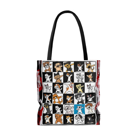 Exclusive Dog Art Jazzy Instruments Dabbing Dogs Dance to Own Beat - Tall Tote Bag - 3 Sizes - personalize - Daisey's Doggie Chic