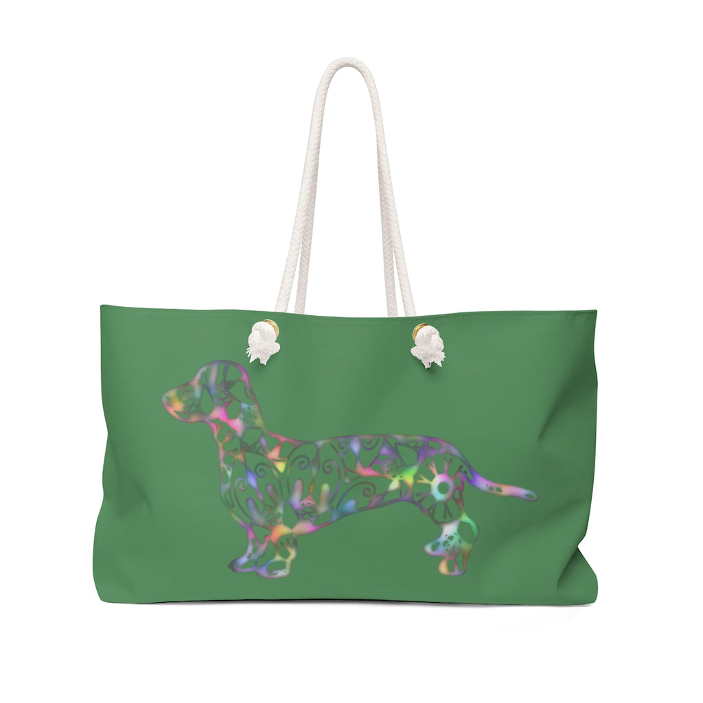 A Dachshund Weekender Bag - Color Zucchini - Oversized Tote – Free Personalization - Daisey's Doggie Chic