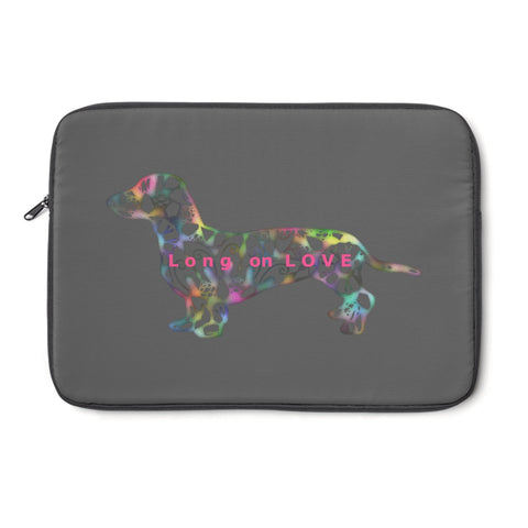 Laptop Sleeve Case - Dachshund Long on LOVE - Color Charcoal Gray - Personalize Free - Daisey's Doggie Chic
