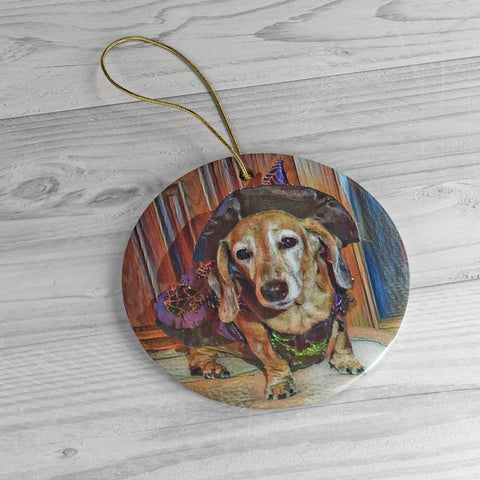 Dasiey's Wicked Cute Ceramic Ornament - Custom made from Photo - Choice of Circle, Oval, Star or Heart - Daisey's Doggie Chic