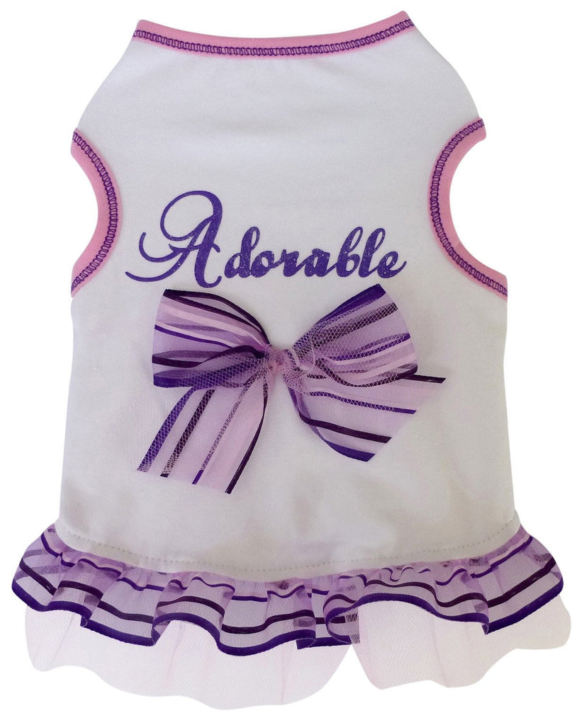 Adorable Too Tulle Skirted Charmed Tank Dress in color White/Lavender - Daisey's Doggie Chic