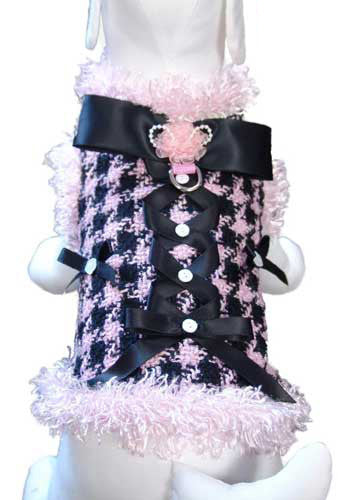 All About Business Houndstooth Dress Coat Harness in color Pink/Black - Daisey's Doggie Chic - 2