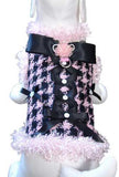 All About Business Houndstooth Dress Coat Harness in color Pink/Black - Daisey's Doggie Chic