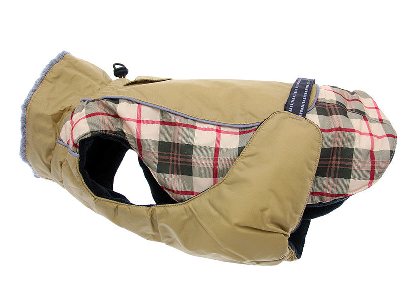 Doggie Design Alpine All Weather Waterproof  Coat Vest in Khaki Plaid - Daisey's Doggie Chic