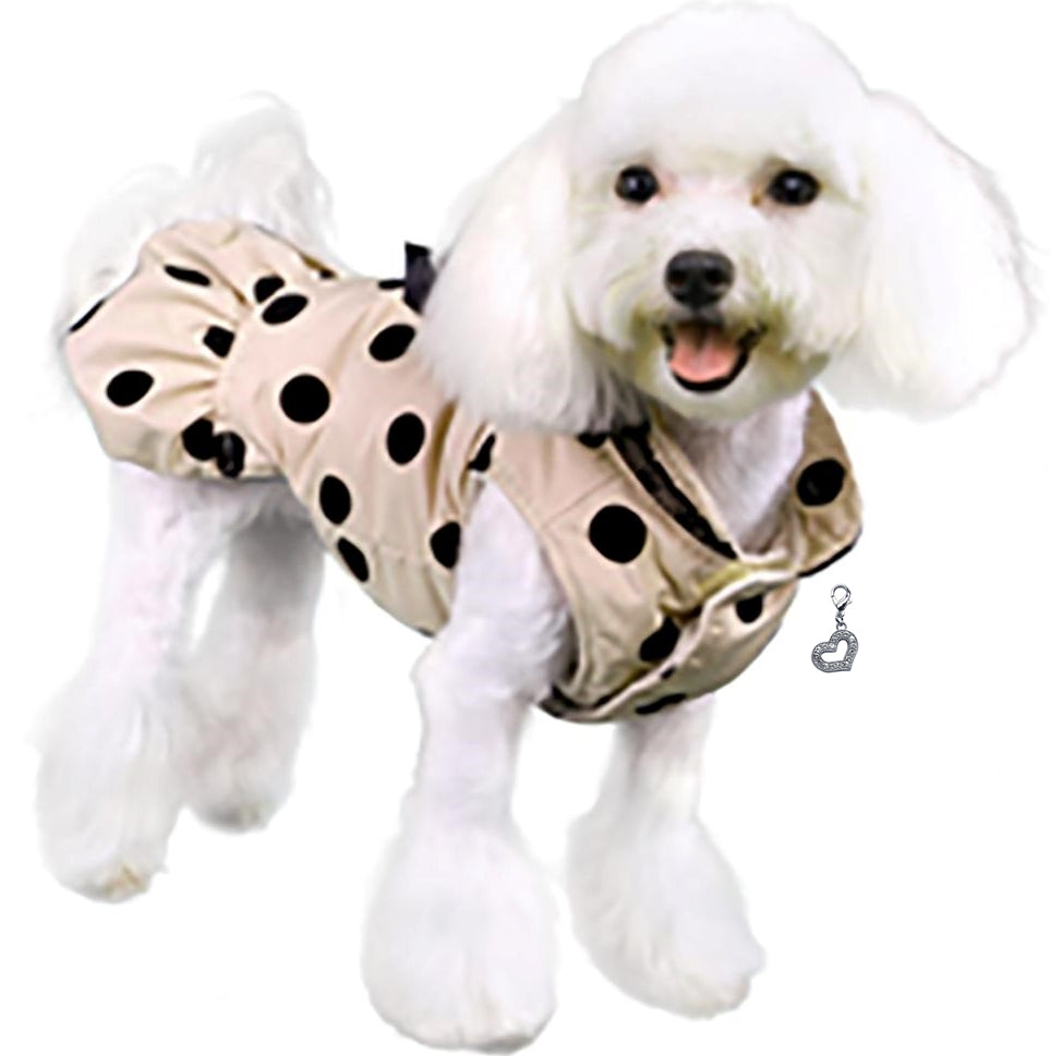 Annie's 5th Avenue Dress Coat with Heart Charm - Color Rose Beige - Daisey's Doggie Chic