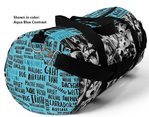 Exclusive Pet Art Duffel Bag - The Many Faces of Dogs with Name List Contrast - Sizes Small or Large - Choice of Color - personalize - Daisey's Doggie Chic