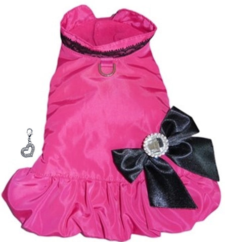 Ava's 5th Avenue Dress Coat with Heart Charm - Color Hot Pink - Daisey's Doggie Chic