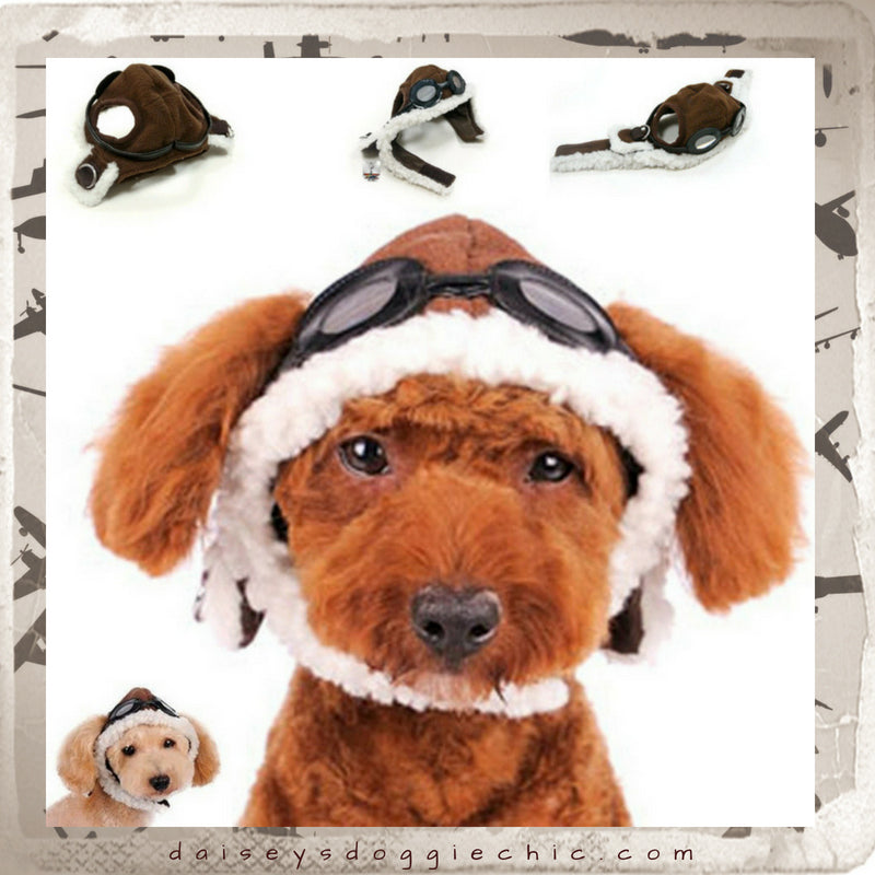 Aviator Hat with Goggles and Themed Charm for Dogs - Daisey s Doggie Chic cba524283