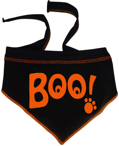 BOO! Ghostly Eyed Bandana Scarf in color Black/Orange - Daisey's Doggie Chic