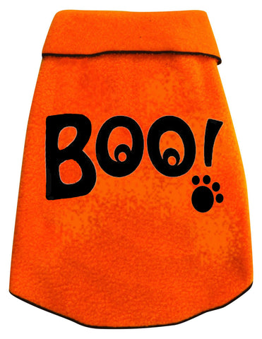 BOO! Ghostly Eyed Fleece Pullover Tank in color Orange - Daisey's Doggie Chic