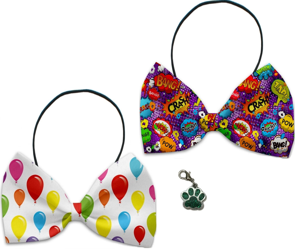 Comics & Balloons  - Fun Party Themed Bowtie 2-Pack set with Charm Accessory for Dogs or Cats - Daisey's Doggie Chic