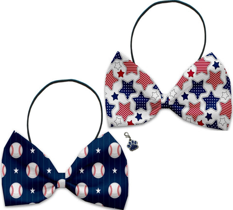 Baseball All-Stars - Fun Party Themed Bowtie 2-Pack set with Charm Accessory for Dogs or Cats - Daisey's Doggie Chic