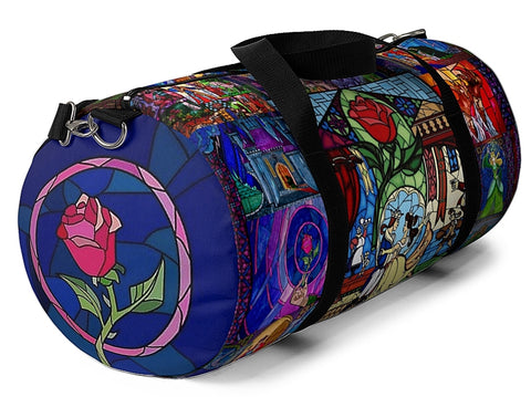 Beauty and the Beast Tale as Old as Time Storybook Scenes Illustrated Duffel Bag - Sizes Small or Large