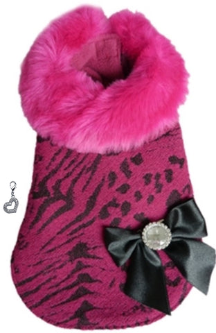 Bella's Fur Elegance City Dress Coat with Heart Charm- Color Fuschia Pink Animal Print - Daisey's Doggie Chic