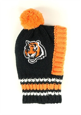 Cincinnatti BENGALS  NFL Official Licensed Ski Hat for Dogs in color Black/Orange - Daisey's Doggie Chic - 1