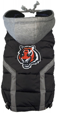 Cincinnatti BENGALS NFL dog Jacket (Puffer Vest) in color Black - Daisey's Doggie Chic