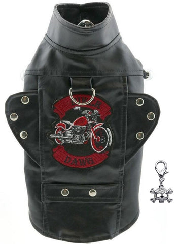Biker Dawg Motorcycle Harness Jacket and Charm - Color Black