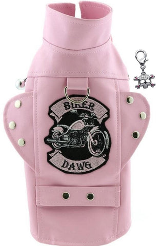 Biker Dawg Motorcycle Harness Jacket and Charm - Color Pink - Daisey's Doggie Chic